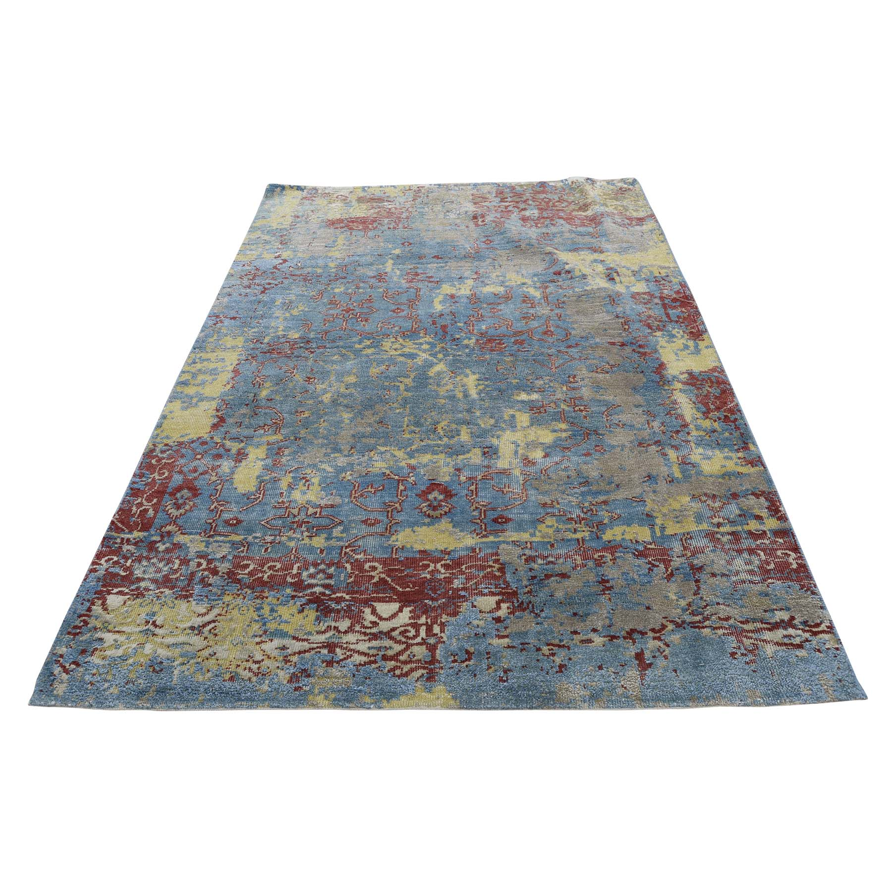 Click For More Images310X510 Hand Knotted Silk With Oxidized Wool Broken